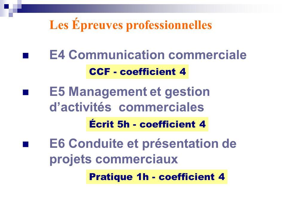E4 Communication commerciale E5 Management et gestion dactivités commerciales E6 Conduite et présentation de projets commerciaux Les Épreuves professi