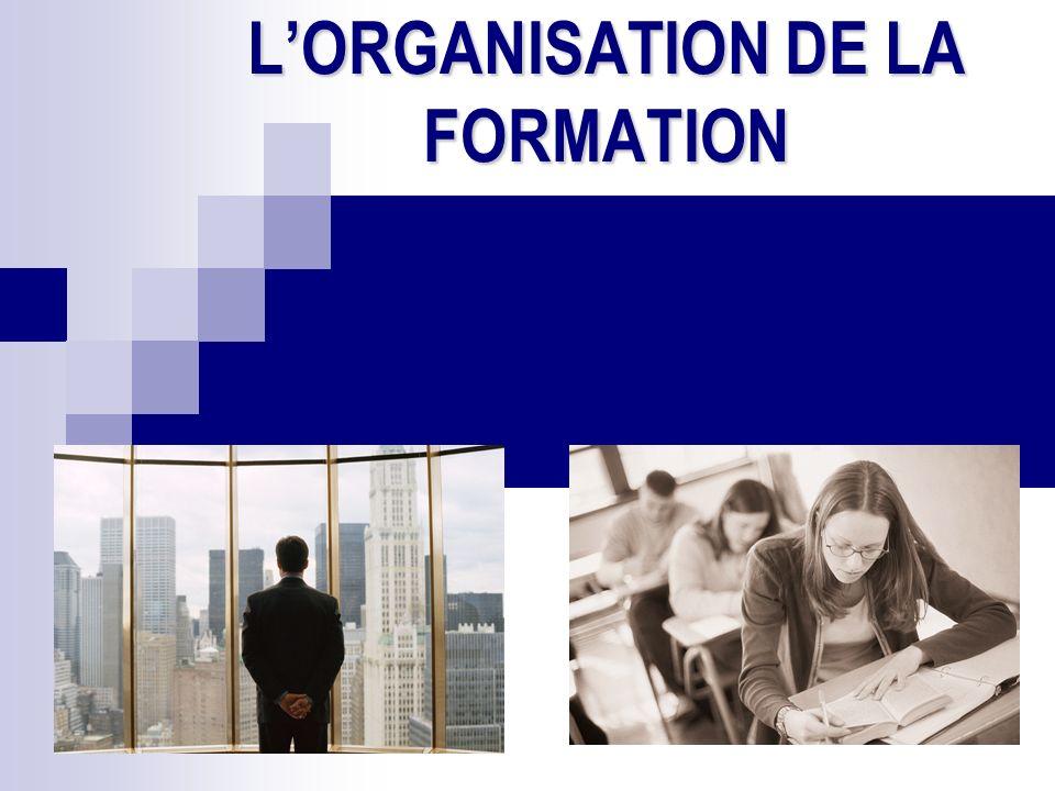 LORGANISATION DE LA FORMATION