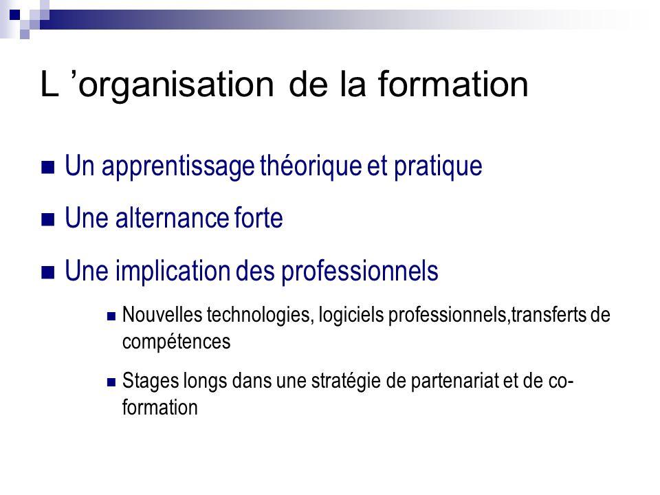 L organisation de la formation Un apprentissage théorique et pratique Une alternance forte Une implication des professionnels Nouvelles technologies,