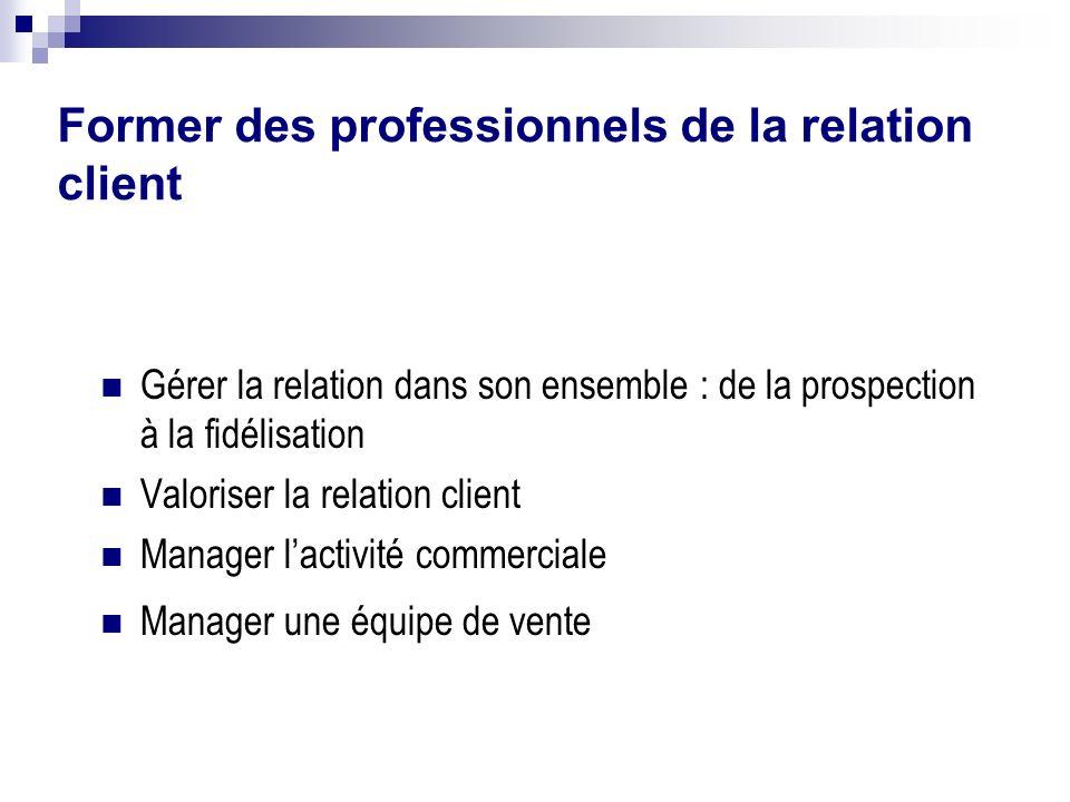 Former des professionnels de la relation client Gérer la relation dans son ensemble : de la prospection à la fidélisation Valoriser la relation client
