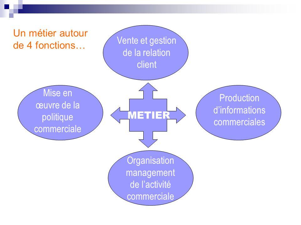Exploiter et partager de linformation commerciale Organiser, planifier et gérer lactivité commerciale Communiquer Négocier Prendre des décisions commerciales COMPETENCES …Qui nécessitent 4 champs de compétences