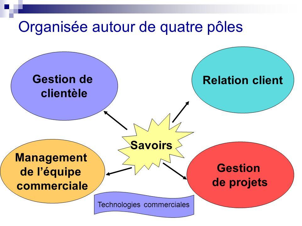Organisée autour de quatre pôles Gestion de clientèle Management de léquipe commerciale Gestion de projets Relation client Savoirs Technologies commer