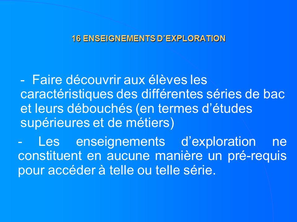 16 ENSEIGNEMENTS DEXPLORATION - Les enseignements dexploration ne constituent en aucune manière un pré-requis pour accéder à telle ou telle série. - F