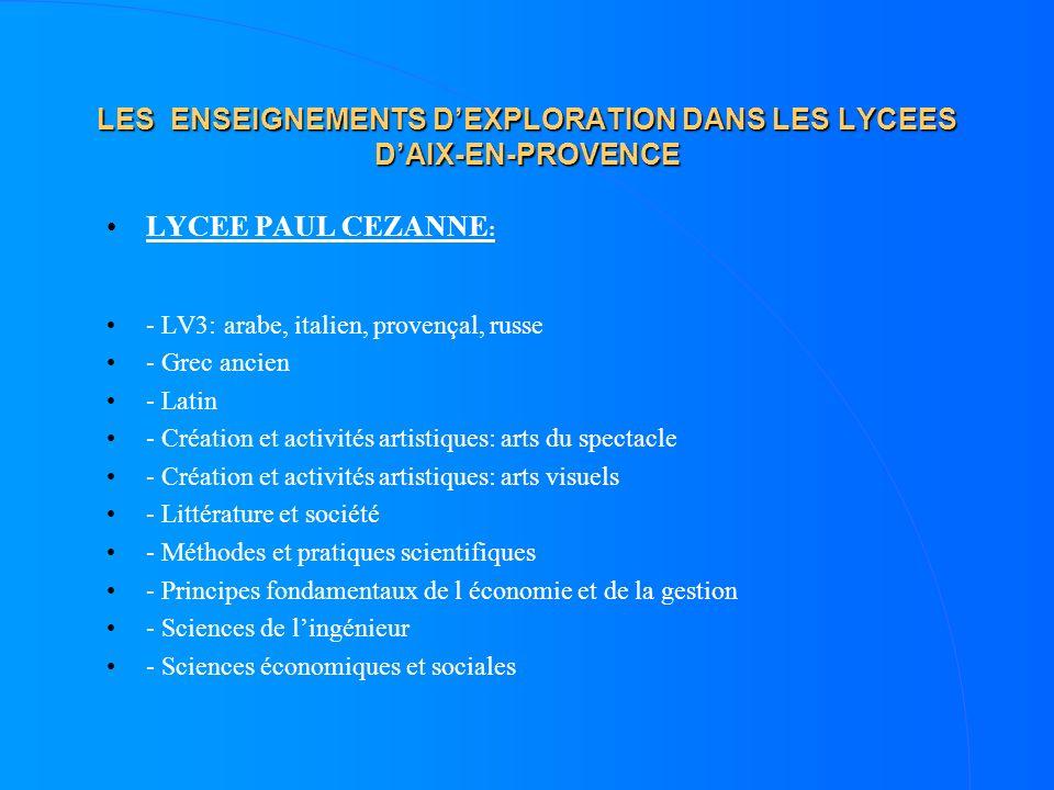 LES ENSEIGNEMENTS DEXPLORATION DANS LES LYCEES DAIX-EN-PROVENCE LYCEE PAUL CEZANNE : - LV3: arabe, italien, provençal, russe - Grec ancien - Latin - C