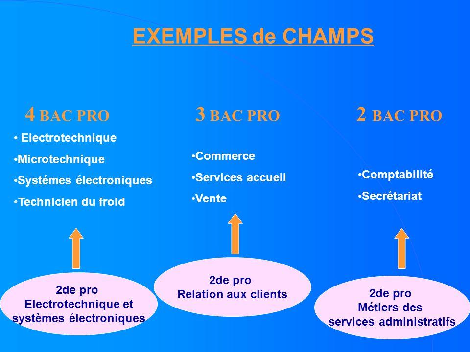 2de pro Electrotechnique et systèmes électroniques EXEMPLES de CHAMPS 4 BAC PRO 2de pro Métiers des services administratifs Comptabilité Secrétariat 2