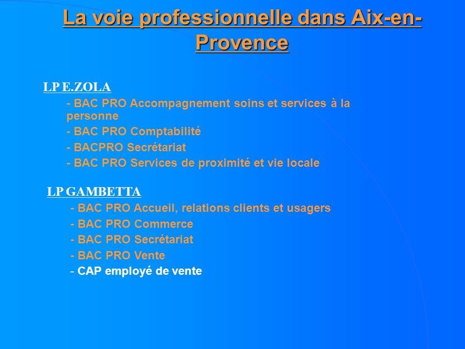 La voie professionnelle dans Aix-en- Provence LP E.ZOLA - BAC PRO Accompagnement soins et services à la personne - BAC PRO Comptabilité - BACPRO Secré