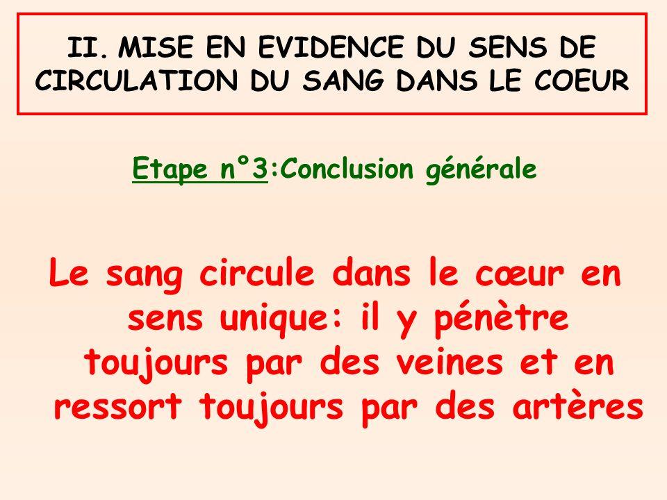 II. MISE EN EVIDENCE DU SENS DE CIRCULATION DU SANG DANS LE COEUR Etape n°3:Conclusion générale Le sang circule dans le cœur en sens unique: il y pénè