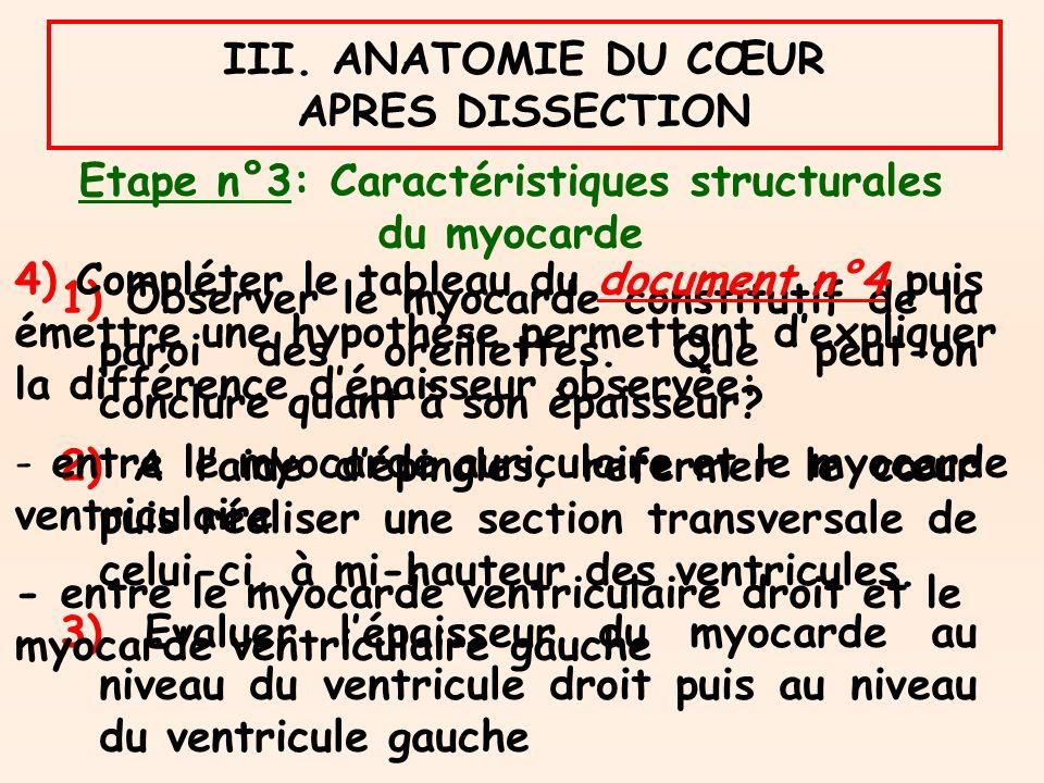 Etape n°3: Caractéristiques structurales du myocarde 1) Observer le myocarde constitutif de la paroi des oreillettes.