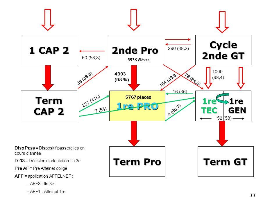 33 1 CAP 2 2nde Pro Cycle 2nde GT Term CAP 2 1re PRO 1reTEC Term Pro Term GT 60 (58,3) 296 (38,2) 1009 (88,4) 1reGEN 4993 (98 %) 16 (36) Disp Pass = D
