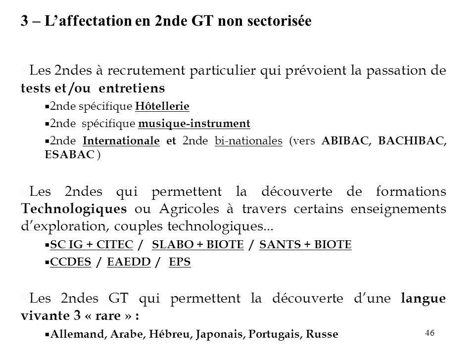46 3 – Laffectation en 2nde GT non sectorisée Les 2ndes à recrutement particulier qui prévoient la passation de tests et /ou entretiens 2nde spécifiqu