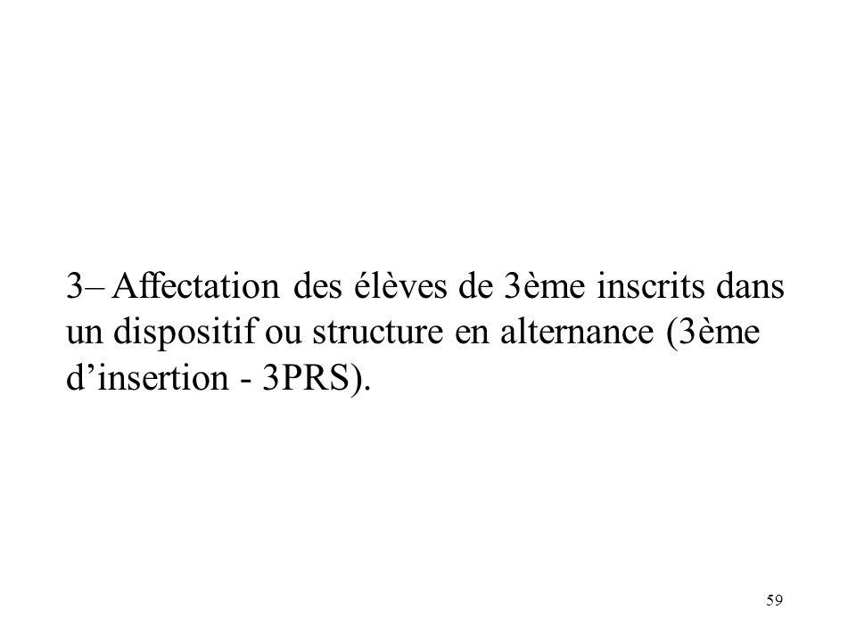 59 3– Affectation des élèves de 3ème inscrits dans un dispositif ou structure en alternance (3ème dinsertion - 3PRS).