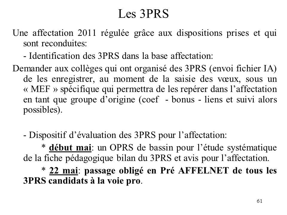 61 Les 3PRS Une affectation 2011 régulée grâce aux dispositions prises et qui sont reconduites: - Identification des 3PRS dans la base affectation: De