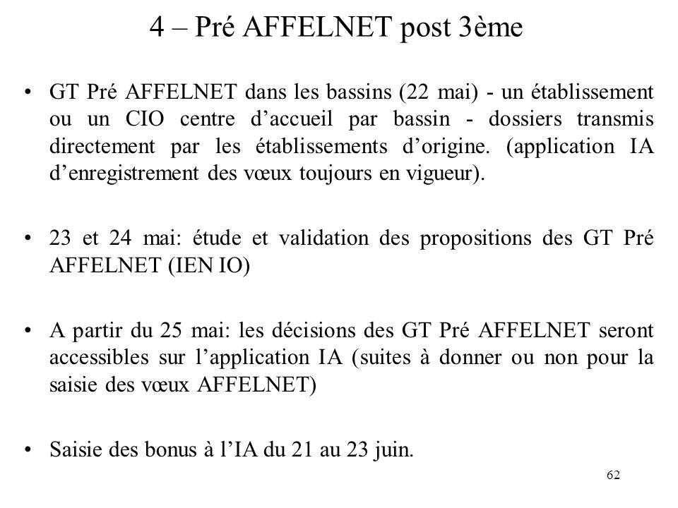 62 4 – Pré AFFELNET post 3ème GT Pré AFFELNET dans les bassins (22 mai) - un établissement ou un CIO centre daccueil par bassin - dossiers transmis di
