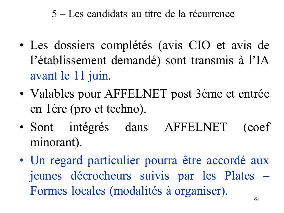64 5 – Les candidats au titre de la récurrence Les dossiers complétés (avis CIO et avis de létablissement demandé) sont transmis à lIA avant le 11 jui