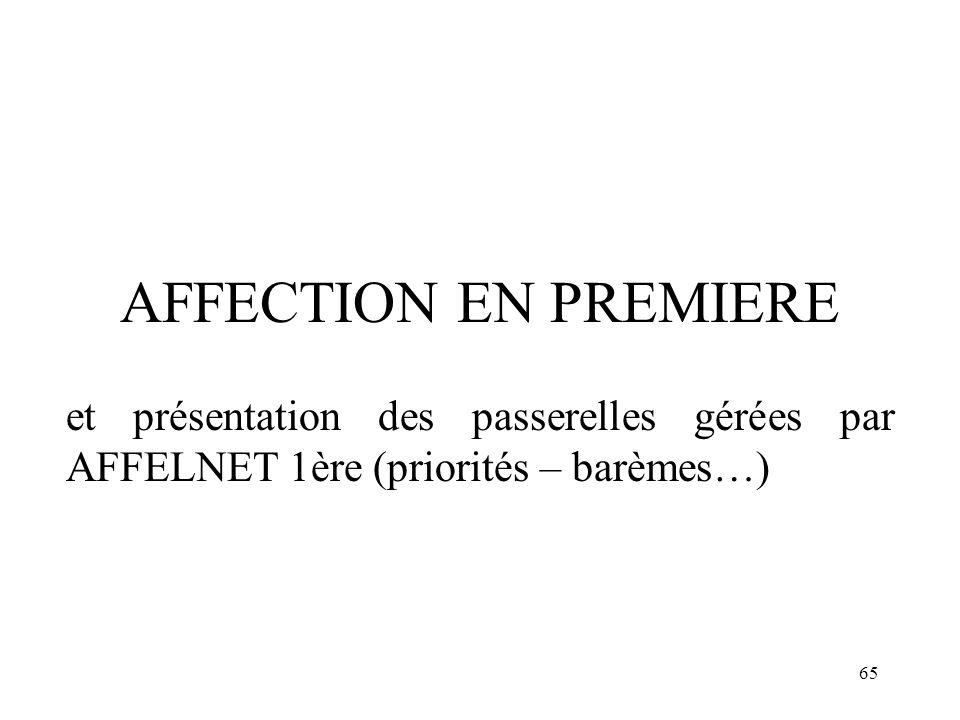 65 AFFECTION EN PREMIERE et présentation des passerelles gérées par AFFELNET 1ère (priorités – barèmes…)