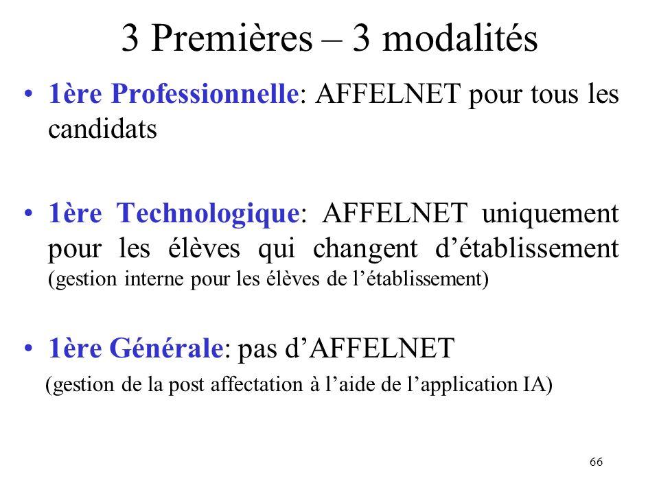 66 3 Premières – 3 modalités 1ère Professionnelle: AFFELNET pour tous les candidats 1ère Technologique: AFFELNET uniquement pour les élèves qui change