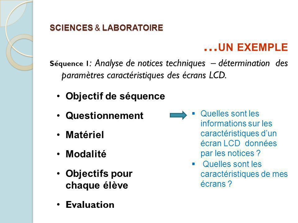 SCIENCES & LABORATOIRE Objectif de séquence Questionnement Matériel Modalité Objectifs pour chaque élève Evaluation Quelles sont les informations sur les caractéristiques dun écran LCD données par les notices .
