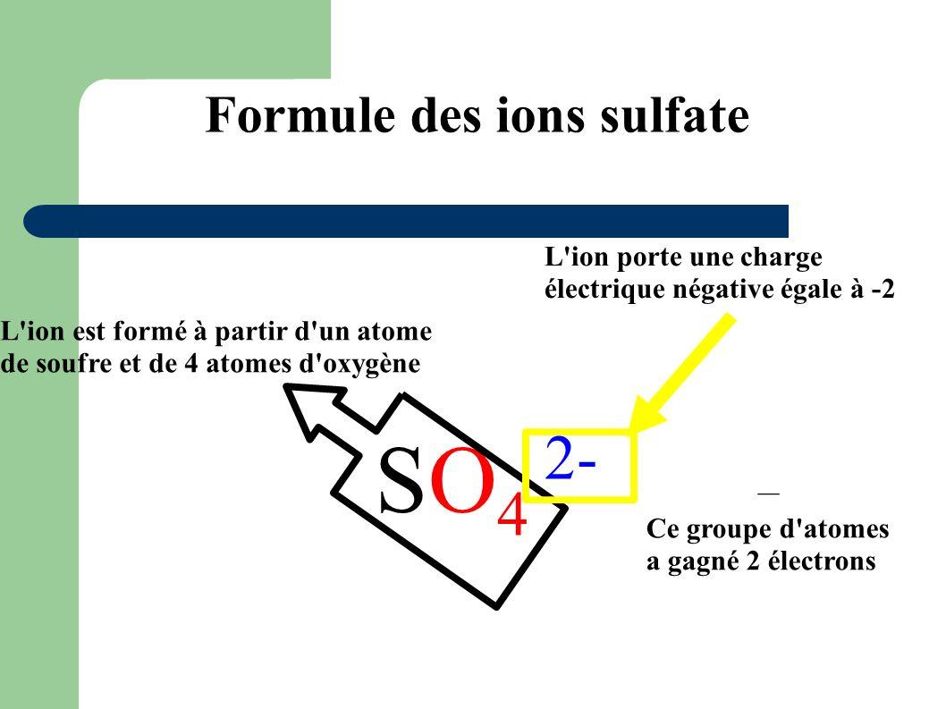 Formule des ions sulfate SO 4 2- L'ion est formé à partir d'un atome de soufre et de 4 atomes d'oxygène L'ion porte une charge électrique négative éga