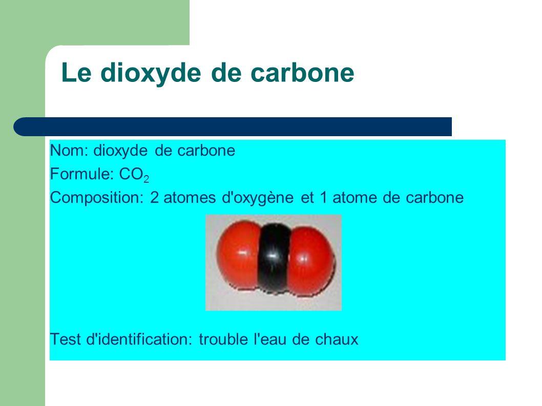 Le dioxyde de carbone Nom: dioxyde de carbone Formule: CO 2 Composition: 2 atomes d'oxygène et 1 atome de carbone Test d'identification: trouble l'eau
