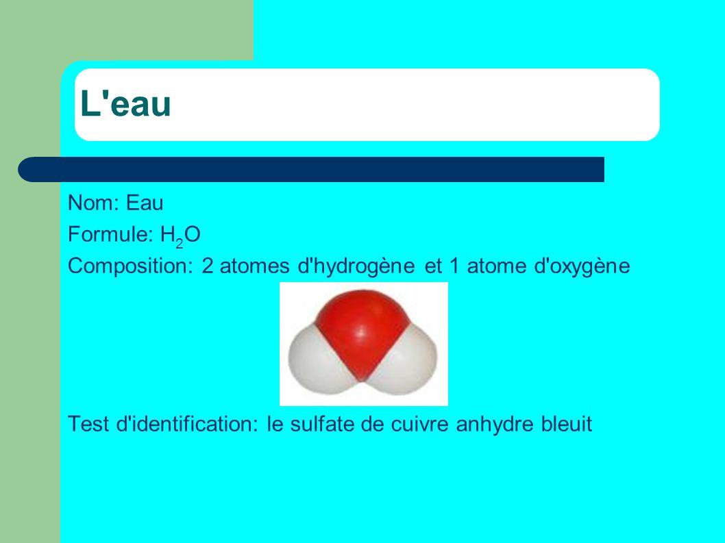 L'eau Nom: Eau Formule: H 2 O Composition: 2 atomes d'hydrogène et 1 atome d'oxygène Test d'identification: le sulfate de cuivre anhydre bleuit