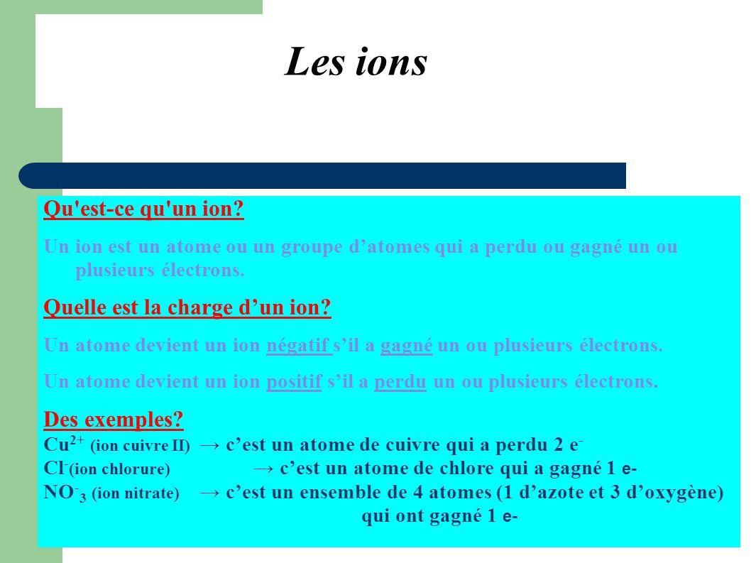 Formation d un ion positif (cation) Perte d un électron Atome de lithium Li Noyau (3 protons) L atome de Lithium perd un électron pour former l ion lithium de formule Li + +3 électron Ion lithium Li +