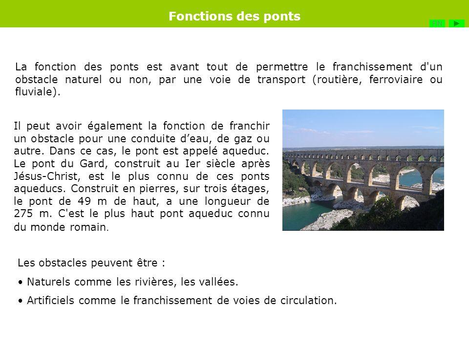 La fonction des ponts est avant tout de permettre le franchissement d'un obstacle naturel ou non, par une voie de transport (routière, ferroviaire ou