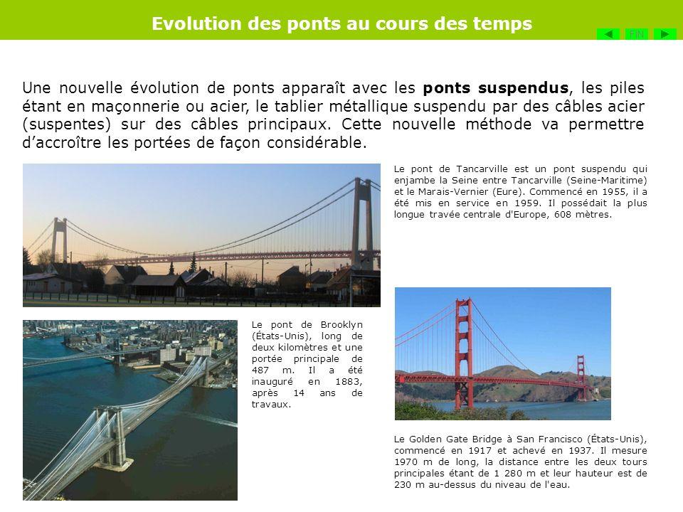 Une nouvelle évolution de ponts apparaît avec les ponts suspendus, les piles étant en maçonnerie ou acier, le tablier métallique suspendu par des câbl