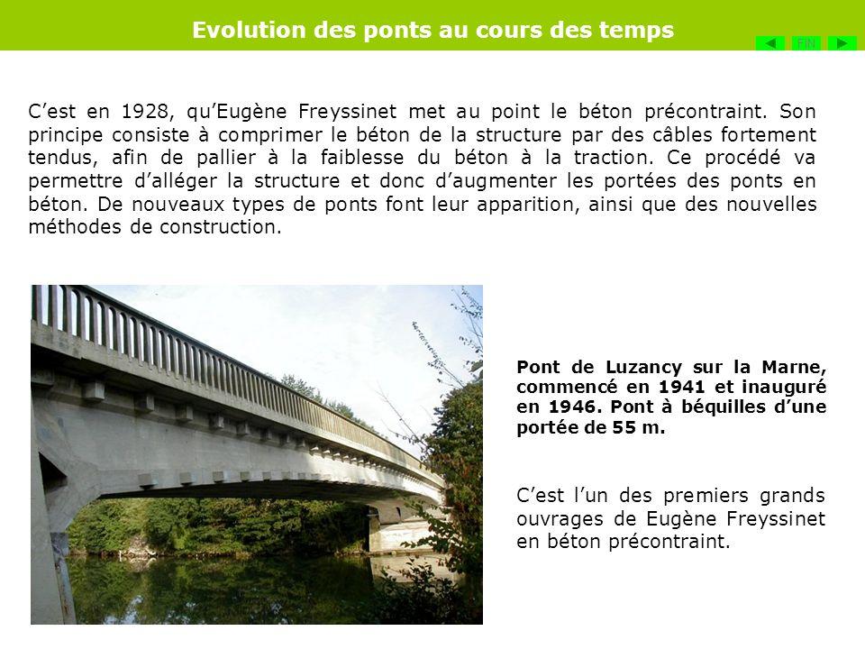 Cest en 1928, quEugène Freyssinet met au point le béton précontraint. Son principe consiste à comprimer le béton de la structure par des câbles fortem