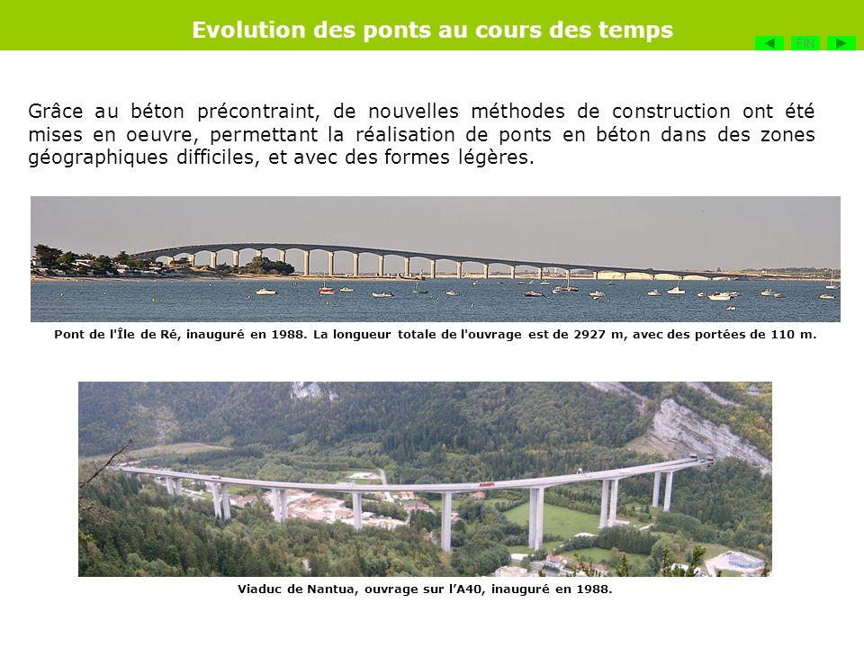 Grâce au béton précontraint, de nouvelles méthodes de construction ont été mises en oeuvre, permettant la réalisation de ponts en béton dans des zones