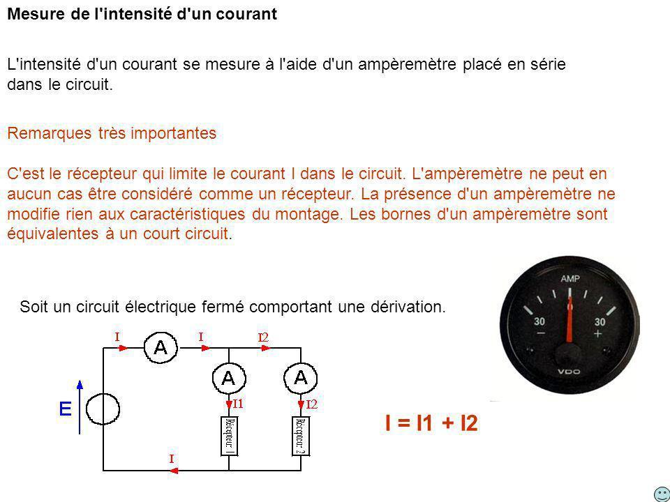 Remarques très importantes C'est le récepteur qui limite le courant I dans le circuit. L'ampèremètre ne peut en aucun cas être considéré comme un réce