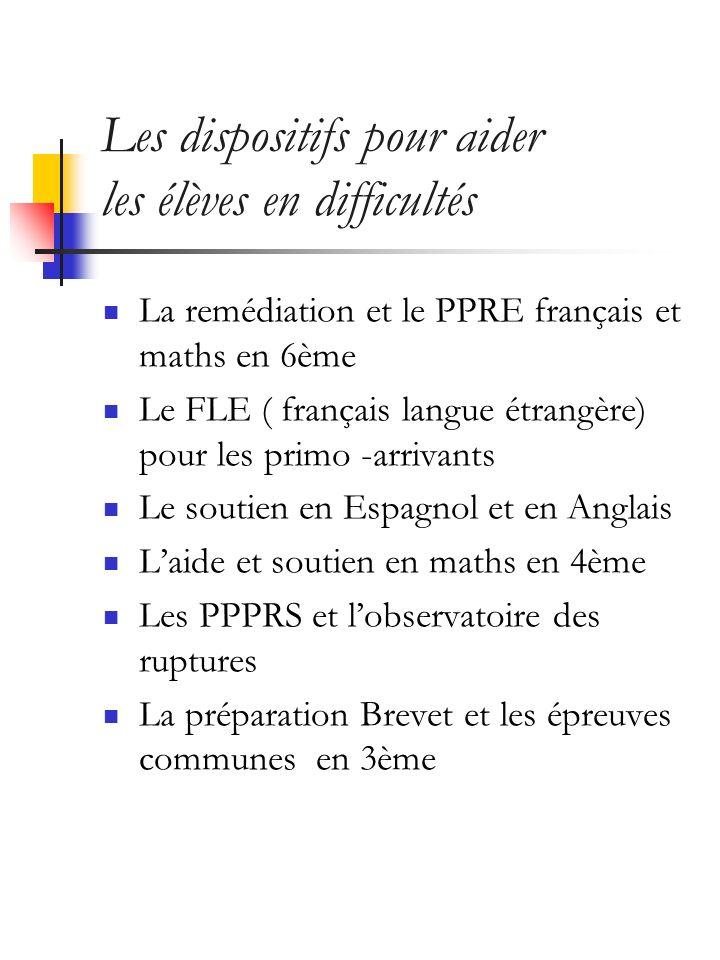 Les dispositifs pour aider les élèves en difficultés La remédiation et le PPRE français et maths en 6ème Le FLE ( français langue étrangère) pour les