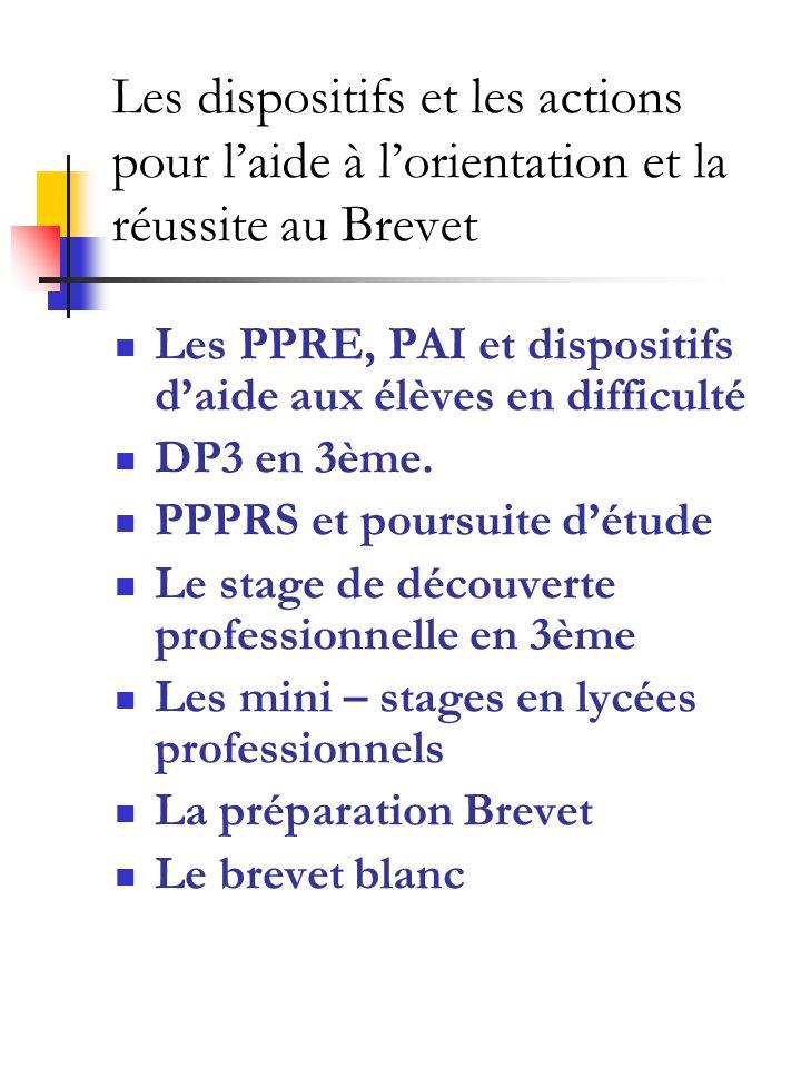 Les dispositifs et les actions pour laide à lorientation et la réussite au Brevet Les PPRE, PAI et dispositifs daide aux élèves en difficulté DP3 en 3