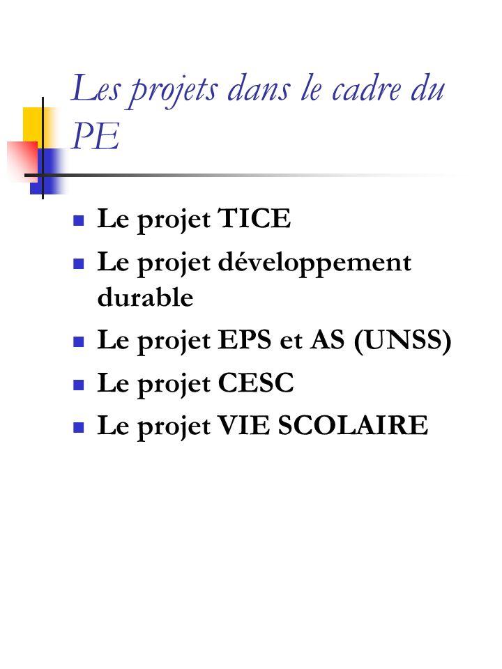 Les projets dans le cadre du PE Le projet TICE Le projet développement durable Le projet EPS et AS (UNSS) Le projet CESC Le projet VIE SCOLAIRE
