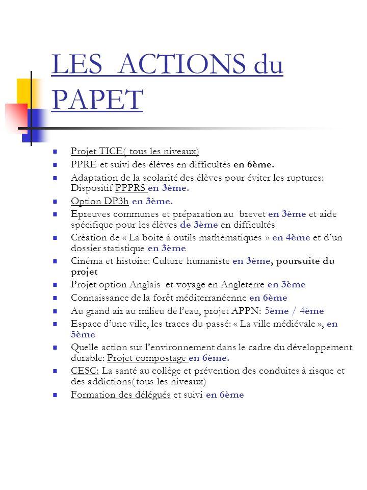 LES ACTIONS du PAPET Projet TICE( tous les niveaux) PPRE et suivi des élèves en difficultés en 6ème. Adaptation de la scolarité des élèves pour éviter