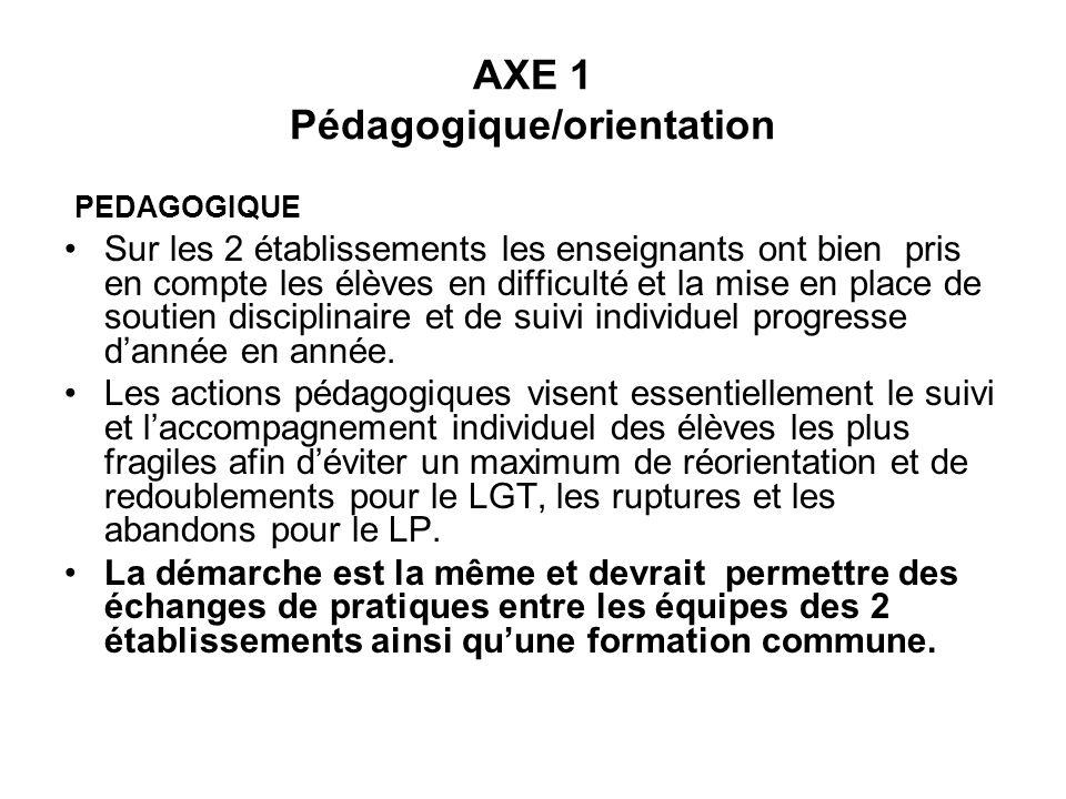 AXE 1 Pédagogique/orientation PEDAGOGIQUE Sur les 2 établissements les enseignants ont bien pris en compte les élèves en difficulté et la mise en plac