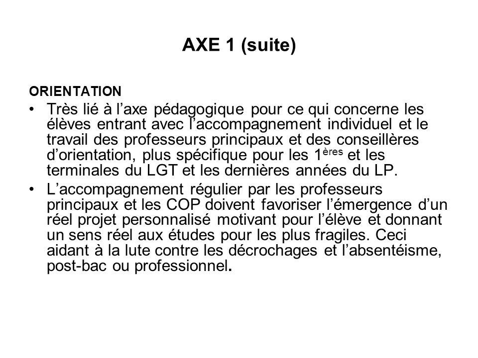 AXE 1 (suite) ORIENTATION Très lié à laxe pédagogique pour ce qui concerne les élèves entrant avec laccompagnement individuel et le travail des profes