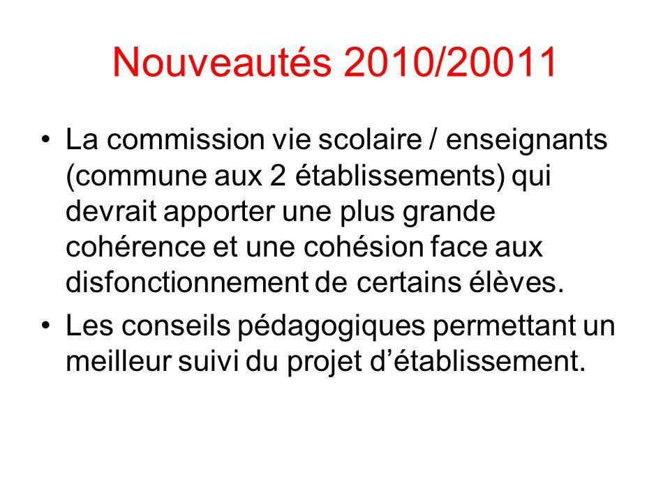 Nouveautés 2010/20011 La commission vie scolaire / enseignants (commune aux 2 établissements) qui devrait apporter une plus grande cohérence et une co