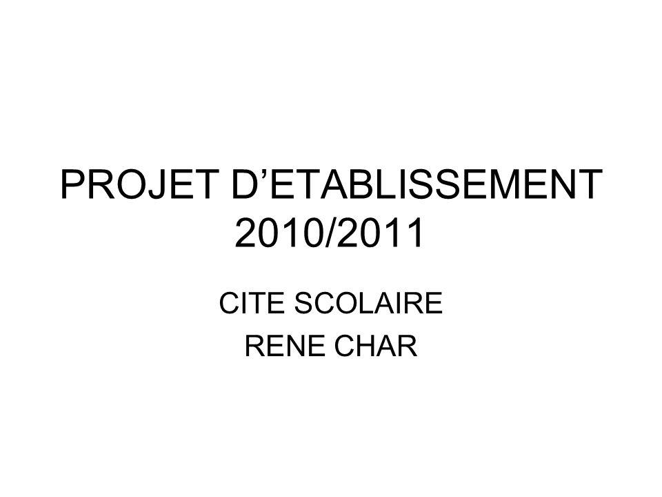 PROJET DETABLISSEMENT 2010/2011 CITE SCOLAIRE RENE CHAR