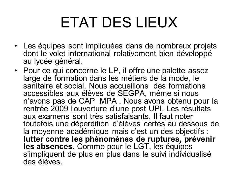 ETAT DES LIEUX Les équipes sont impliquées dans de nombreux projets dont le volet international relativement bien développé au lycée général. Pour ce