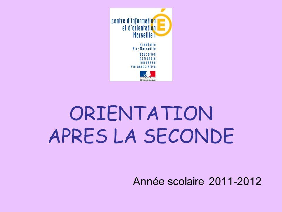 ORIENTATION APRES LA SECONDE Année scolaire 2011-2012
