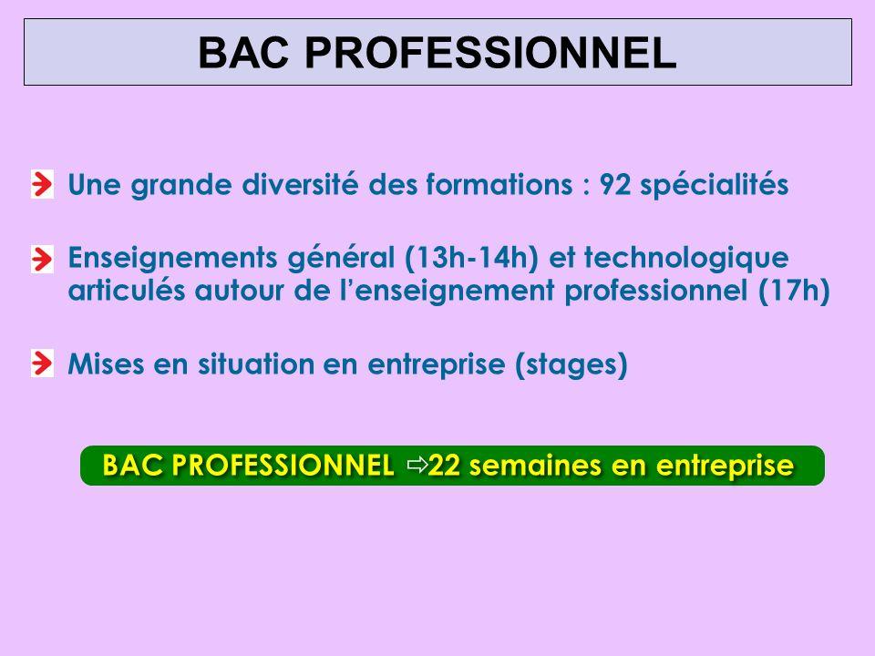 Une grande diversité des formations : 92 spécialités Enseignements général (13h-14h) et technologique articulés autour de lenseignement professionnel