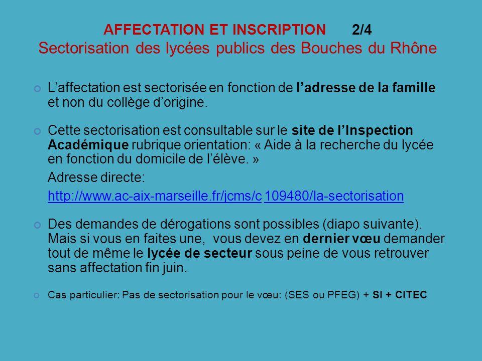 AFFECTATION ET INSCRIPTION 2/4 Sectorisation des lycées publics des Bouches du Rhône Laffectation est sectorisée en fonction de ladresse de la famille