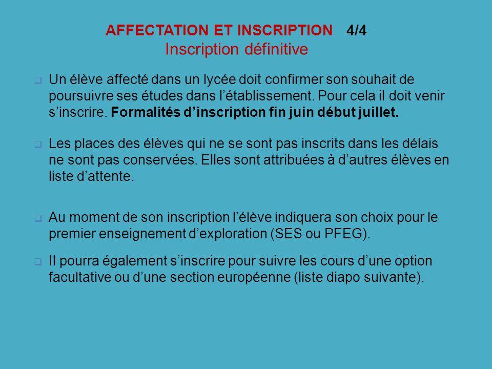AFFECTATION ET INSCRIPTION 4/4 Inscription définitive Un élève affecté dans un lycée doit confirmer son souhait de poursuivre ses études dans létablis