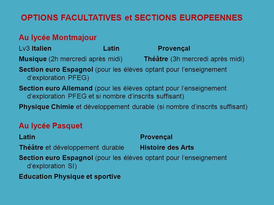 OPTIONS FACULTATIVES et SECTIONS EUROPEENNES Au lycée Montmajour Lv3 Italien Latin Provençal Musique (2h mercredi après midi) Théâtre (3h mercredi apr