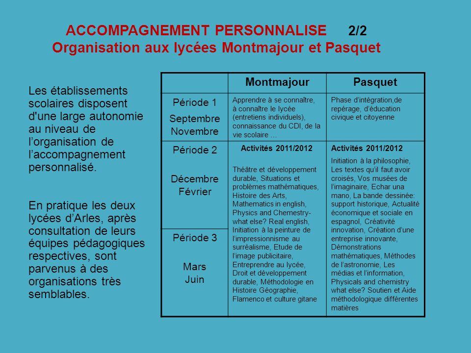 ACCOMPAGNEMENT PERSONNALISE 2/2 Organisation aux lycées Montmajour et Pasquet Les établissements scolaires disposent d'une large autonomie au niveau d