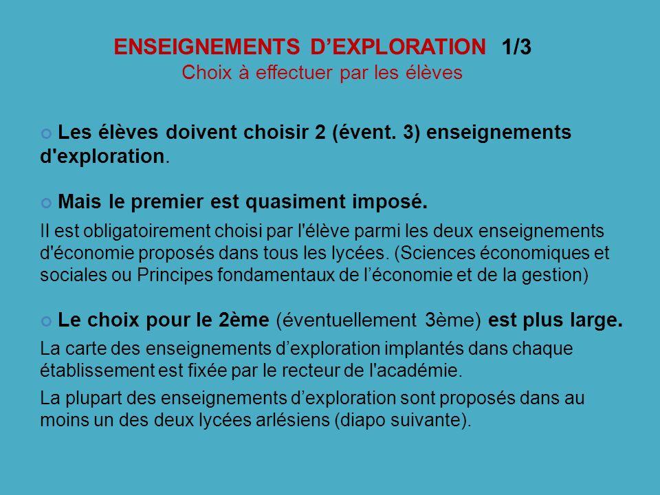 ENSEIGNEMENTS DEXPLORATION 1/3 Choix à effectuer par les élèves Les élèves doivent choisir 2 (évent. 3) enseignements d'exploration. Mais le premier e