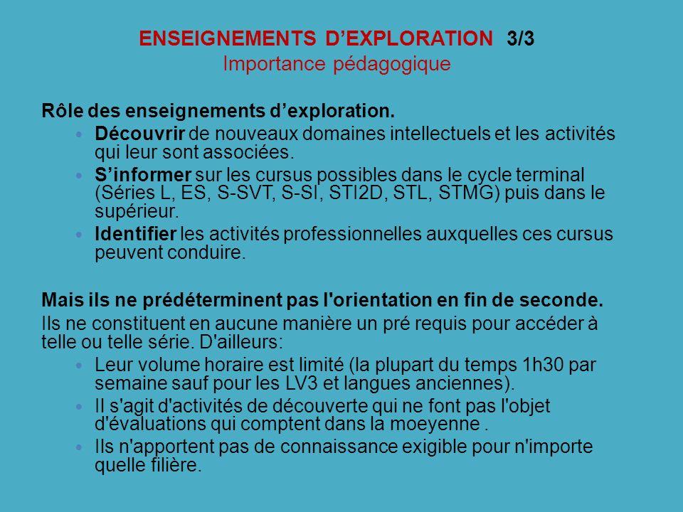 ENSEIGNEMENTS DEXPLORATION 3/3 Importance pédagogique Rôle des enseignements dexploration. Découvrir de nouveaux domaines intellectuels et les activit
