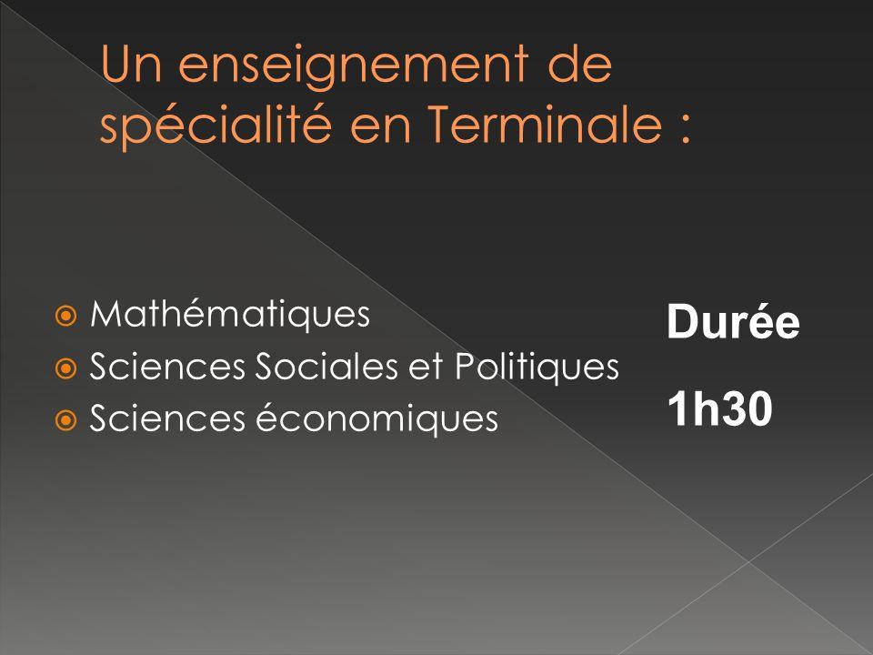 Mathématiques Sciences Sociales et Politiques Sciences économiques Durée 1h30
