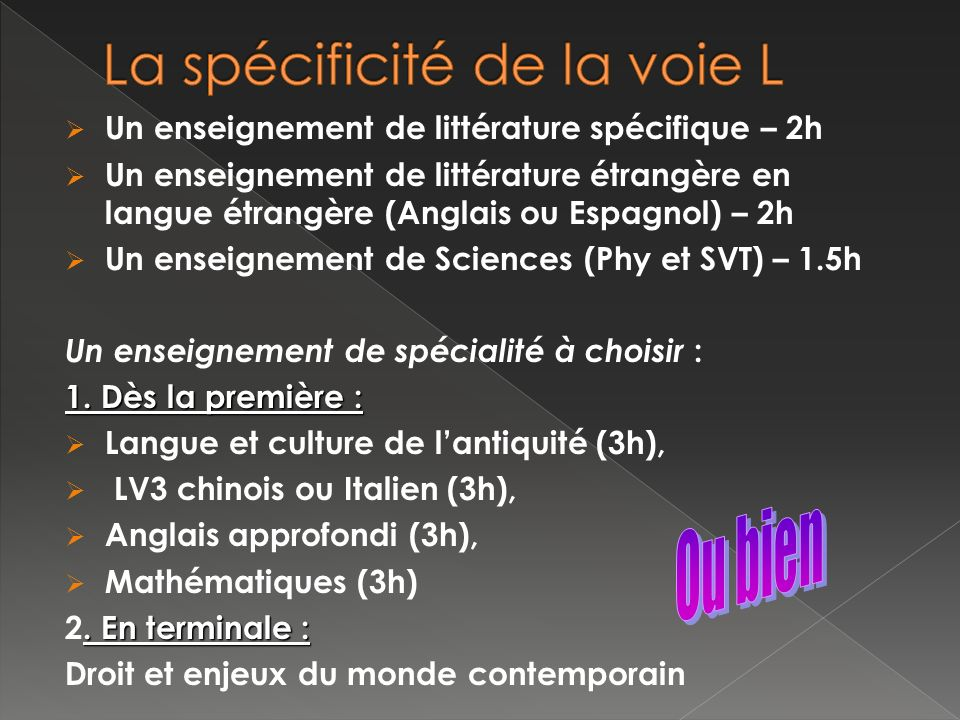 Un enseignement de littérature spécifique – 2h Un enseignement de littérature étrangère en langue étrangère (Anglais ou Espagnol) – 2h Un enseignement de Sciences (Phy et SVT) – 1.5h Un enseignement de spécialité à choisir : 1.