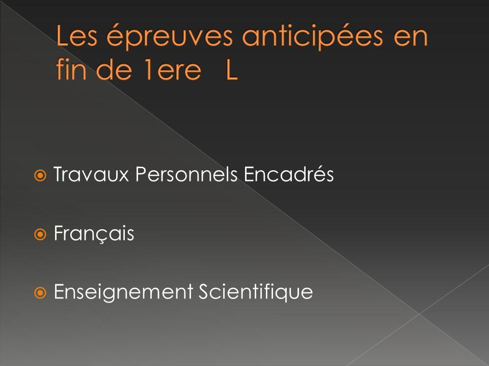 Travaux Personnels Encadrés Français Enseignement Scientifique